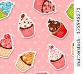 valentine cupcake seamless... | Shutterstock .eps vector #173943371