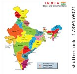 india map. political map of... | Shutterstock .eps vector #1739459021