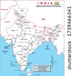 india map. political map of...   Shutterstock .eps vector #1739466341