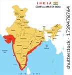 political map of india. states... | Shutterstock .eps vector #1739478764