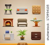 furniture icons set 10 | Shutterstock .eps vector #173954105