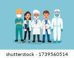 flat illustration of doctors... | Shutterstock .eps vector #1739560514