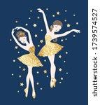 vector cute ballerinas in gold...   Shutterstock .eps vector #1739574527