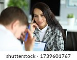 Small photo of Woman listens attentively to an upset office employee. Analysis sensory information. Instructions and teachings subordinates. Listen enter position and give him chance to rectify situation