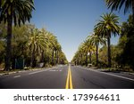 View Of Palm Trees Road In...