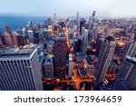 city of chicago. aerial view of ... | Shutterstock . vector #173964659
