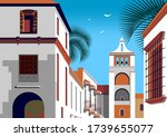 colonial spanish style street... | Shutterstock .eps vector #1739655077