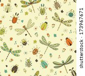 seamless dragonfly pattern.... | Shutterstock .eps vector #173967671