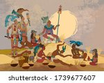 ancient mayan. mural painting.... | Shutterstock .eps vector #1739677607