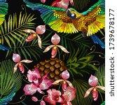 tropical parrots  pink orchids...   Shutterstock .eps vector #1739678177