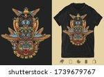 golden wings  black panther ... | Shutterstock .eps vector #1739679767