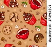 seamless pattern with chocolate ... | Shutterstock .eps vector #173969801