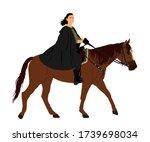 medieval princess riding horse... | Shutterstock .eps vector #1739698034