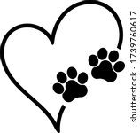 vector heart with paws dog cat | Shutterstock .eps vector #1739760617