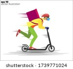 courier in a mask and gloves on ... | Shutterstock .eps vector #1739771024