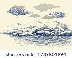 rocky sea shore hand drawing ... | Shutterstock .eps vector #1739801894