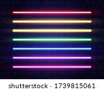 neon lines collection on brick... | Shutterstock .eps vector #1739815061