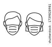 face mask line icon man and... | Shutterstock .eps vector #1739828981