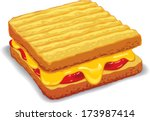 melted yellow cheese toast... | Shutterstock .eps vector #173987414