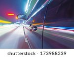 car on the road with motion... | Shutterstock . vector #173988239