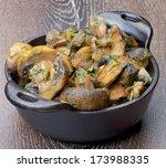 tasty champignon mushrooms stew ...