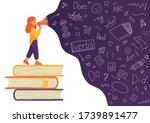 english. girl on stack of books ... | Shutterstock .eps vector #1739891477