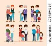 set scenes of families using... | Shutterstock .eps vector #1739894114