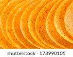 macro shot of crunchy potato chips - stock photo