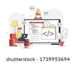 flat linear illustration of...   Shutterstock .eps vector #1739953694