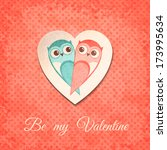 valentine card with owls.... | Shutterstock .eps vector #173995634