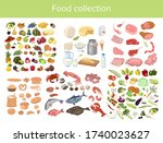 food collection isolated on a... | Shutterstock .eps vector #1740023627