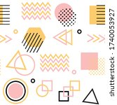memphis style with geometric... | Shutterstock .eps vector #1740053927