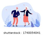 active funny old couple dancing ... | Shutterstock .eps vector #1740054041