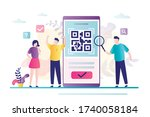 people scanning qr code for... | Shutterstock .eps vector #1740058184