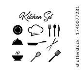 kitchen set vector knife... | Shutterstock .eps vector #1740077231