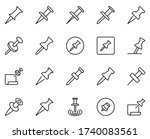 pin line icon set. collection...