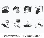 hand washing icons set. vector... | Shutterstock .eps vector #1740086384