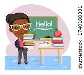 cartoon english teacher with...   Shutterstock .eps vector #1740100331