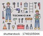 man and woman technician...   Shutterstock .eps vector #1740105044