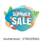 summer sale banner paper cut... | Shutterstock .eps vector #1740109601