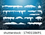 set of isolated snow cap. snowy ... | Shutterstock .eps vector #1740118691