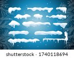 set of isolated snow cap. snowy ... | Shutterstock .eps vector #1740118694