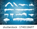 set of isolated snow cap. snowy ... | Shutterstock .eps vector #1740118697
