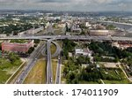 ST-PETERSBURG, RUSSIA - JULY 19, 2007:  Intersection of Ring Road and Avenue Obukhov Oborony. Road transport interchange before cable-stayed bridge, entrance to ring road. - stock photo