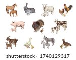 large set of hand drawn farm... | Shutterstock .eps vector #1740129317