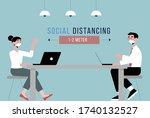 social distance. business... | Shutterstock .eps vector #1740132527