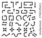 black arrows. set of symbols.... | Shutterstock . vector #1740135611