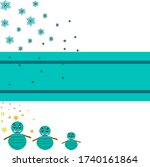 ice with snowfall and snowman... | Shutterstock .eps vector #1740161864