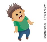 boy scared badly and screams ... | Shutterstock .eps vector #1740178994