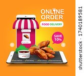 food delivery online order on... | Shutterstock .eps vector #1740189581